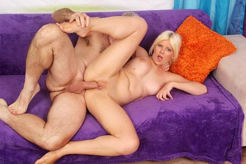 Pretty blonde takes fat cock
